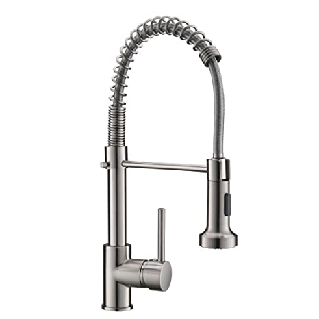 Fapully Commercial Spring Pull Down Faucet Single Handle Kitchen Sink Faucet With 2 Function Sprayer Brushed Nickel