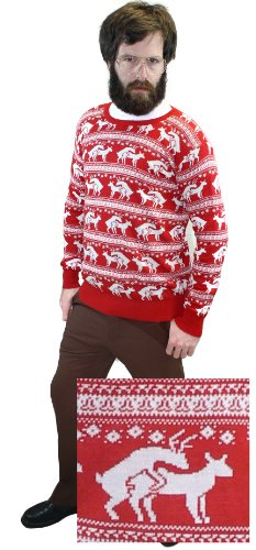 Reindeer Humping Ugly Christmas Sweater w/Holiday Insertion & Christmas Dongs (XXX-Large, Red) -