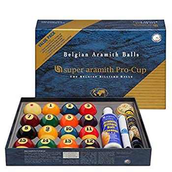 Image of Aramith Super Pro-Cup Value Pack (Super Pro Billiard Pool Ball Set 2 1/4' with Six Red Dots Pro-Cup Cue Ball, Micro-Fibre Cloth, Ball Cleaner, Jim Rempe 2 1/4' Training Ball) Billiard Balls
