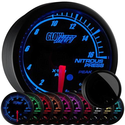 - GlowShift Elite 10 Color 1,600 PSI Nitrous Pressure NOS Gauge Kit - Includes Electronic Sensor - Black Dial - Tinted Lens - Peak Recall Function - For Car & Truck - 2-1/16
