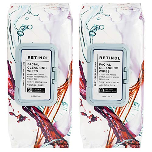 Body Prescriptions 2 Pack (50 Count Each) Retinol Facial Cleansing and Gentle Make Up Remover Wipes - Flip Top Pack