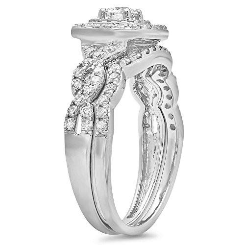 0.95 Carat (ctw) 14K Gold Round White Diamond Swirl Bridal Split Shank Halo Engagement Ring Set 1 CT