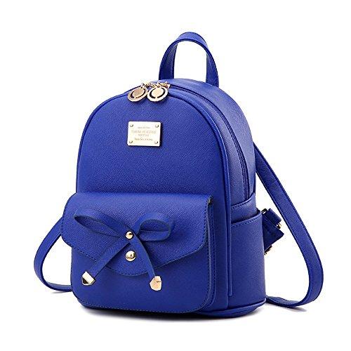 - Girls Leather Mini Backpack Purse Cute Bowknot Fashion Small Backpacks Purses for Teen Women - Dark Blue