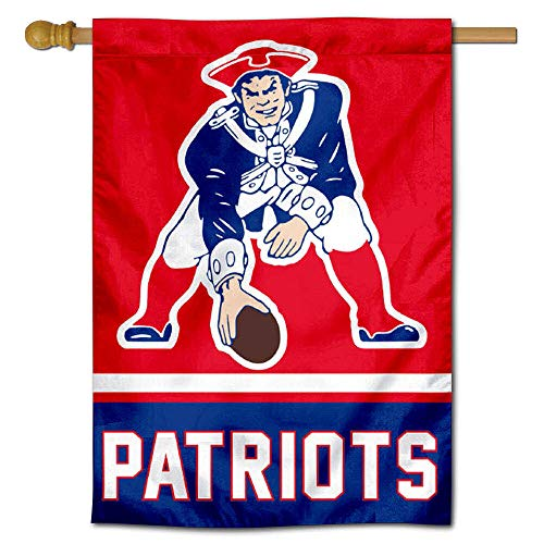 Throwback Vertical Flag - Wincraft New England Patriots Pat Patriot Two Sided House Flag