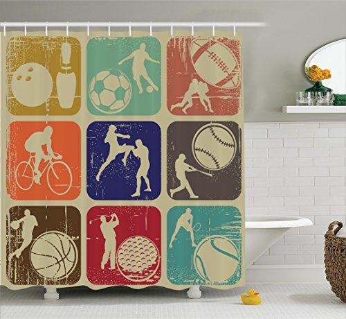 Ambesonne Sports Decor Shower Curtain Set, Assorted Sports Banners in Vintage Grunge Effect Tennis Soccer Bowling Sports Pub Theme Decor, Bathroom Accessories, 69W X 70L inches, Multi by Ambesonne