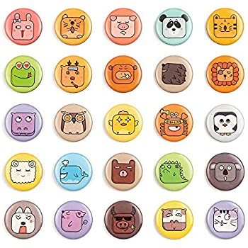 25pcs Fridge Magnets Animal Face Emoji Refrigerator Magnets Small Funny Magnets for Kids Kitchen Home School Classroom Whiteboard Cute Decorative Emoji Party Favors (25pcs-Animal Faces)