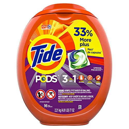 Tide PODS Laundry Detergent Liquid Pacs, Spring Meadow Scent, HE Compatible, 96 Count (Packaging May - Pods Meadow