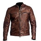 Men's Biker Vintage Cafe Racer Brown Distressed Leather Jacket
