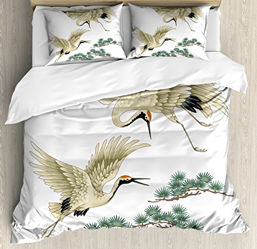Far Eastern Decor (Bird Duvet Cover Set King Size by Lunarable, Two Japanese Cranes Flying Traditional Painting Style Far Eastern Illustration, Decorative 3 Piece Bedding Set with 2 Pillow Shams, Ivory Green Black)