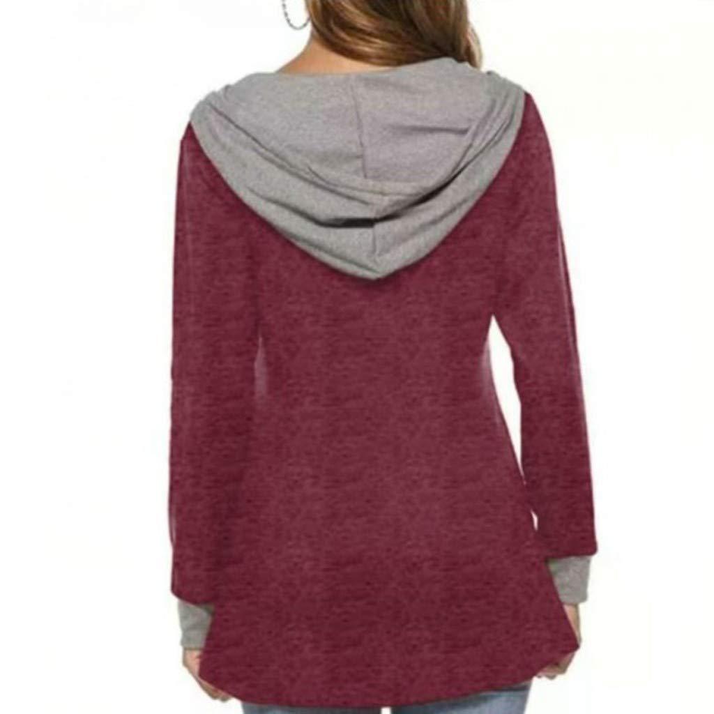 GOKOMO Damen Arbeiten O-Ansatz Normallack mit Kapuze Taschen langes H/ülsen Womens Pullover Loose Tops Sweatshirt Damen