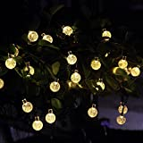 Innoo Tech Solar Globe String Lights Outdoor 19.7 ft 30 LED Warm White Crystal Ball Christmas Globe Lights for Garden Path, Party, Bedroom Decoration