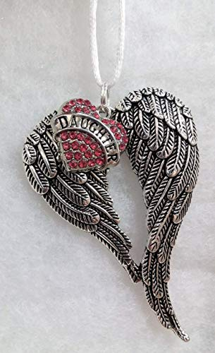 - Daughter Memorial Christmas Ornament Angel Wings with Pink Rhinestone Heart Sympathy Gift