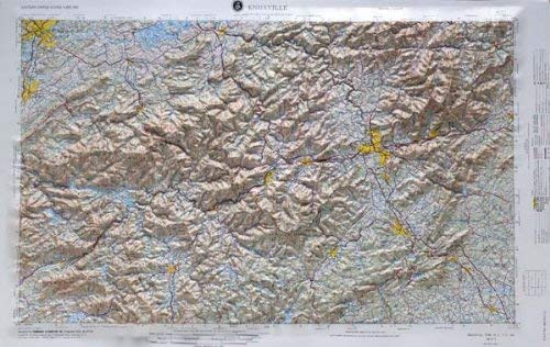(KNOXVILLE REGIONAL Raised Relief Map in the states of North Carolina and Tennessee with OAK WOOD Frame)