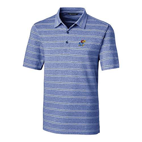 Cutter & Buck NCAA Kansas Jayhawks Short Sleeve Heather Stripe Forge Polo, X-Large, Tour Blue - Kansas Jayhawks Ncaa Stripes
