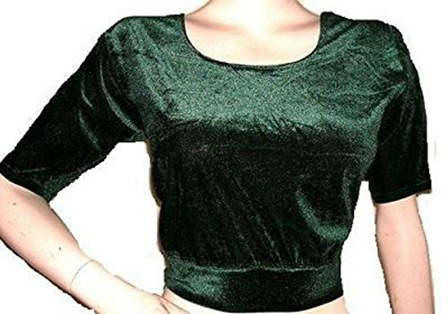 Dancers World Elegante con mangas Tribal Belly Dance Choli Traje Top Reino Unido 12/14 - 24 - M L XL a 4XL Verde oscuro