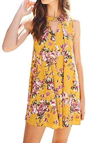 Imysty Women's Boho Floral Print Casual Loose Halter Neck Sleeveless Mini Dress (Medium, Yellow)