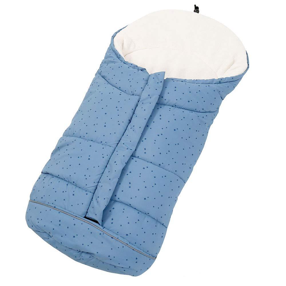 Sacco a pelo Termico Invernale per Passeggino vento impermeabile con 3 cerniere per bambini (blu) seebesteu