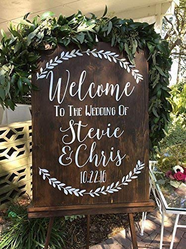 Custom Rustic Welcome to the Wedding of Vinyl Decal Sticker for Sign ()