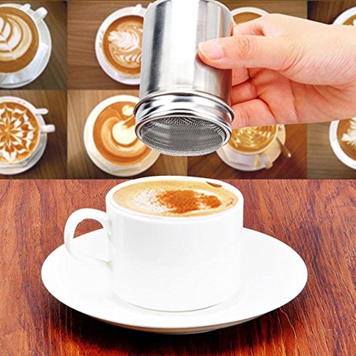Stainless Chocolate Shaker Cocoa Flour Icing Sugar Powder Coffee Sifter Lid Shaker Coffee Accessories Cooking (French Vanilla Cigars)