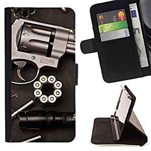 Momo Phone Case / Flip Funda de Cuero Case Cover - Balas Pistola Revolver Clean Guerra Pistola - MOTOROLA MOTO X PLAY XT1562