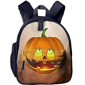 Baby Child Pumpkin Face Halloween Pre School Schoolbag Shoulder Bags Navy