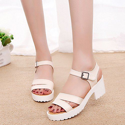 209204a5a1d Gyouanime Women High Heels Wedges Sandals Office Buckle Slope Shoes Outdoor  Round Toe Platform Sandals Dress