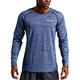 Pervobs Men's Stretchy Long Sleeve Fitness Training T-Shirt Outdoor Sports Blouse Top(L, Blue)