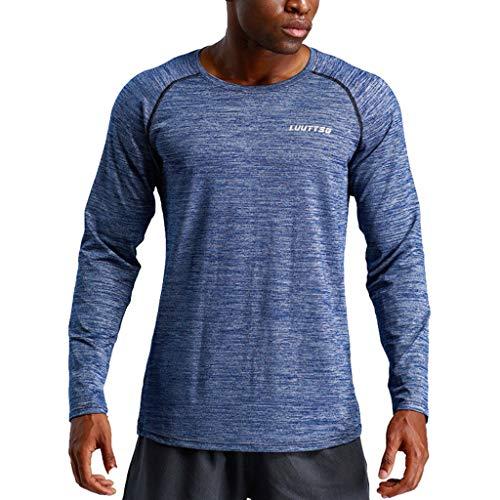 Uomo Compression Elastica Fitness Asciugatura Toamen Permeabilità abbigliamento Esecuzion D'aria In Manica Rapida All'aperto Buona Lunga Sportivo Blu Running fIwnnExq8