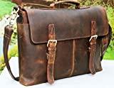 Vintage Buffalo Leather Messenger Satchel Laptop Briefcase Men's Bag Crazy Vintage Leather Messenger Briefcase Bag
