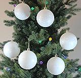 Image of Shatterproof White Snowball Christmas Balls, Set of 6, 80mm
