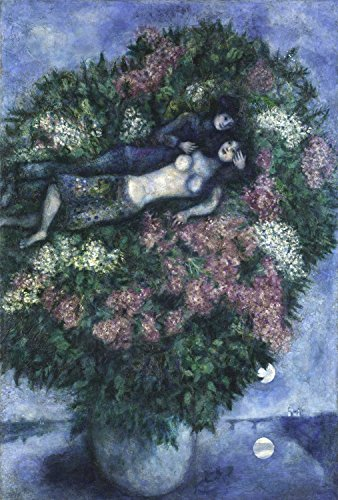 Marc Chagall - Lovers Among the Lilacs, Canvas Art Print, Size 16x24, Non-Canvas Poster Print