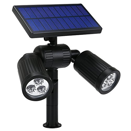 Solar Spotlight, GoerTek 2-in-1 Waterproof Outdoor Landscape Lighting 6 LED Adjustable Spotlight Wall/In-ground Solar Lights Bright and Dark Sensing Auto On/Off for Yard Driveway, Lawn, Pathway Pool