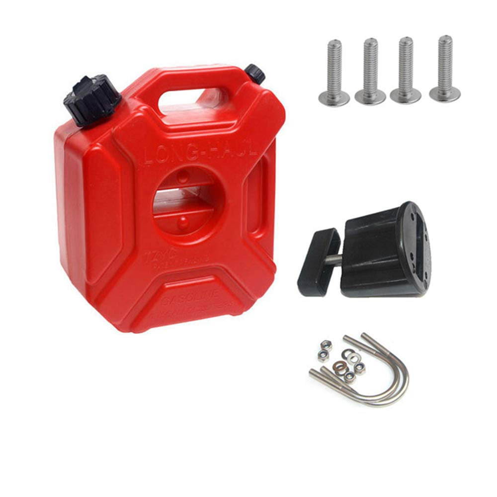 Portable Spare Oil Pot, Red (5L) Gas Can, 1.3 Gallon Petrol Barrel, Portable Storage with Pack Mount for Motorcycle SUV ATV