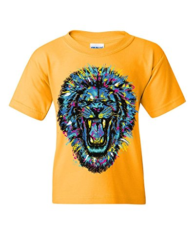Paint Splatter Roaring Lion Youth T-Shirt King Big Cat Animal Wildlife Kids Tee Yellow S by Tee Hunt