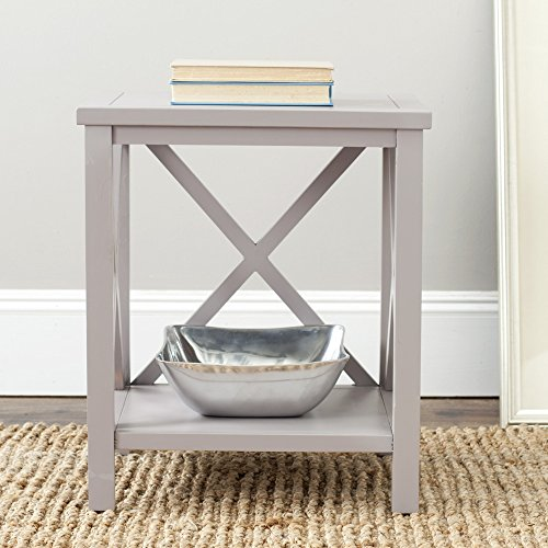 - Safavieh American Homes Collection Candence Quartz Grey Cross Back End Table