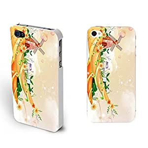 Pretty Colorful Floral Series Hard Plastic Case Cover Shell for Iphone 4 Flowers Designed Iphone 4s Case Protector (orange nature landscape BY645)