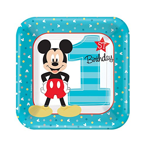 Mickey Mouse 1st Birthday Party Supplies 48 Pack Dessert Plates]()