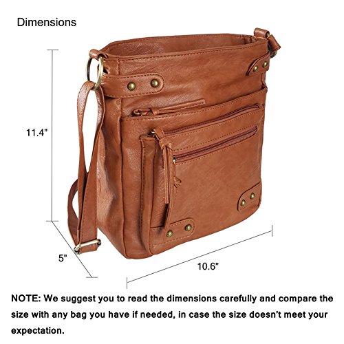 FanCarry Washed Soft PU Leather Crossbody Purse Multi Pocket Shoulder Satchel Bags for Women (Dark Orange-upgraded) by FanCarry (Image #2)