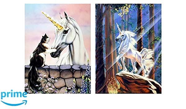 Friends Dawe Cat And Light in the Forest Unicorn Horse Two Set 8x10 Art Print