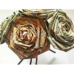 Vintage Map Paper Rose Bouquet Vintage Home Decor Artificial Flora Flowers Gift for Her Him Travel Themed Destination Wedding Paper Flower Bouquets Handmade (Bunch of 5-6) 4