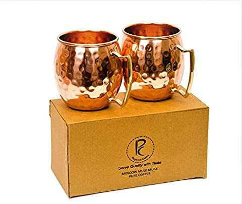 Moscow Mule Handcrafted Hammered Pure Copper Mugs / Cup, 100% Pure Copper with Brass Handle, 16 Ounce, Set of 2, Barrel Mugs (Set of 2 ), Food Safe Pure Solid Copper Mugs, Gift Set, Drinking Mug