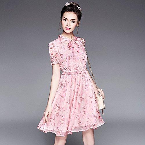De Nouveau Papillon Taille grand nbsp;robe Taille Migmv Robe Fat 2018 Grande Femmes Sœur Robes Imprimée Code L'été Noeud D'usure Élastique 4xl pink 7zxww6qB