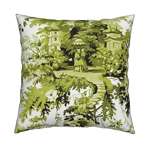 Roostery Chinoiserie Toile Asian Chinese Green Usurper Chartreuse Eco Canvas Throw Pillow Chinoiserie Palace ~ Usurper by Peacoquettedesigns Cover and Insert Included