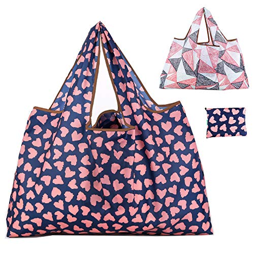 Reusable Grocery Bags 2 Packs Washable/Foldable/Eco Friendly Nylon Heavy Duty Fits in Pocket Shopping Tote Bag (multicolor 2)
