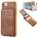 DAMONDY iPhone 7 Case, iPhone 8 Case, Luxury Wallet Purse Card Holders Design Cover Soft Shockproof Bumper Flip Leather Kickstand Magnetic Clasp With Wrist Strap Case for Apple iPhone 7 8-brown