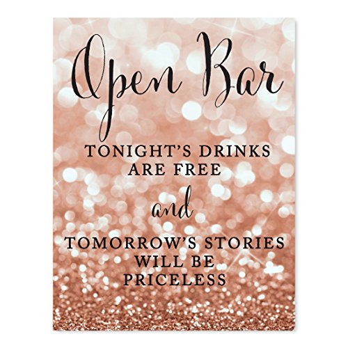 Andaz Press Wedding Party Signs, Glitzy Rose Gold Glitter, 8.5x11-inch, Open Bar Tonight's Drinks are Free and Tomorrow's Stories Will Be Priceless, 1-Pack, Bokeh Colored Party Supplies]()