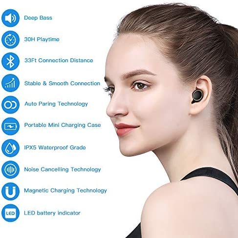 Wireless Earbuds, JOYROOM Bluetooth Earbuds Sport, TWS in-Ear True Wireless Headphones, Sweatproof CVC Noise Cancelling Earbuds with Portable Charging Case