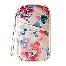 Passport Wallet for Women 13.5*24*2cm Passport Travel Wallet Vintage Floral Patterns Travel Passport Organizer