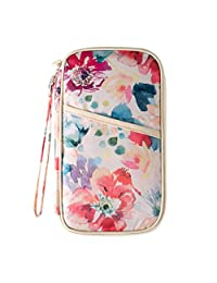 Passport Wallet for Women 13.5 * 24 * 2cm Vintage Floral Patterns Travel Passport Organizer (Beige)