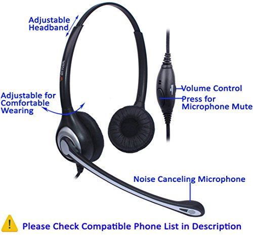 Wantek RJ9 Telephone Headset Dual with Noise Cancelling Mic, Quick  Disconnect, for Yealink T42G T46G T48G T21P T41P Avaya 1608 9608 9611G 9650